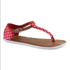 Keds Red Polka Dot Tealight T-Strap Thong Sandals